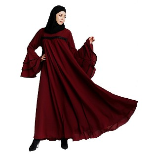 Loose Fit Umbrella abaya with bell sleeves- Maroon