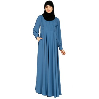 Umbrella abaya with potli buttons neck design- French Blue