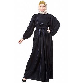 Designer velvet Bridal abaya- Blue
