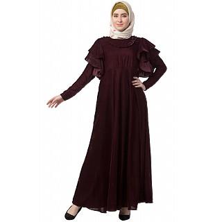 Designer velvet Bridal abaya- Maroon