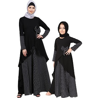 Polka dotted asymmetrical matching combo dress for mother and daughter- black