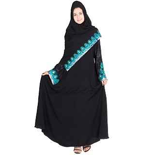 Umbrella abaya with embroidery work on sleeve and dupatta