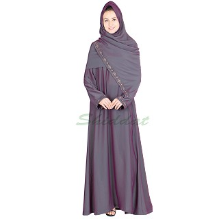 Embroidered Abaya - Dolphin colored