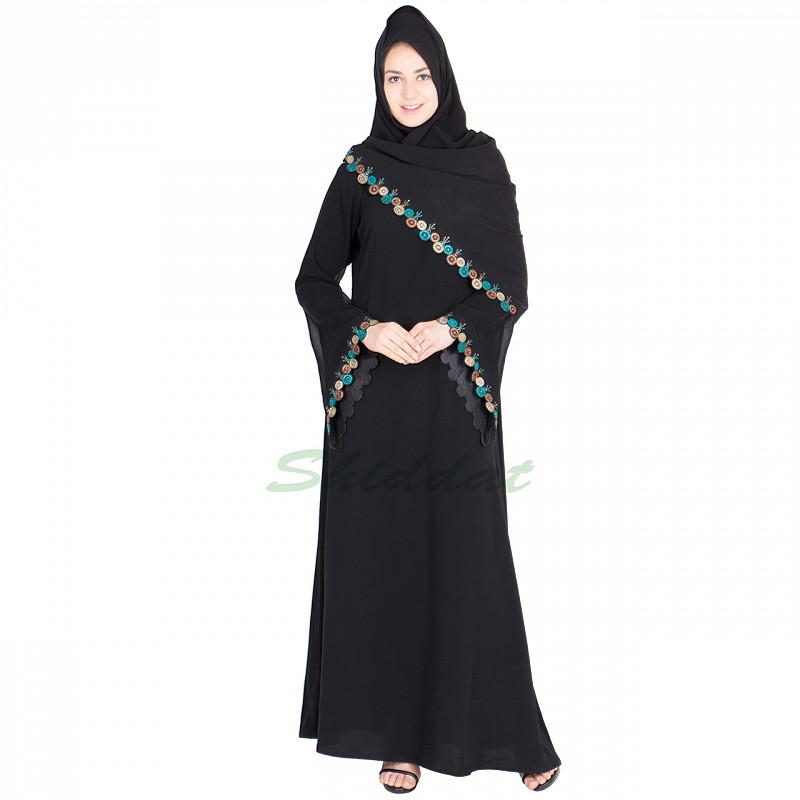 Online Nida Abaya Shopping With Hand Embroidery Work