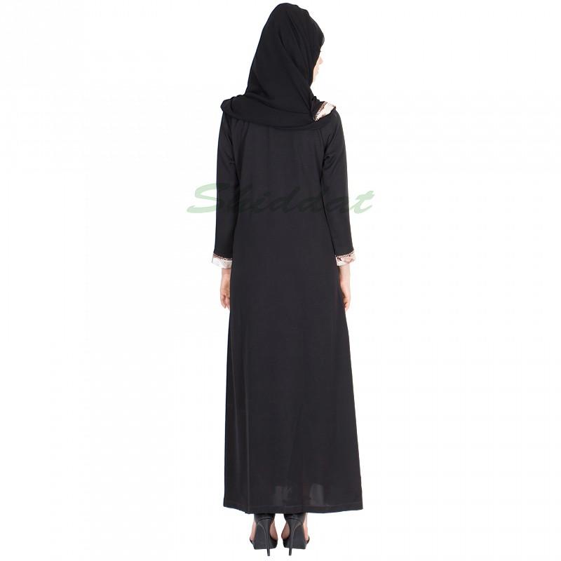 Abayas Online Dubai Style Abaya Nida Fabric Net Dupatta