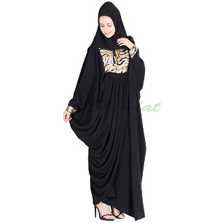 Black color dhoti abaya with one side open- nida fabric