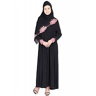 Nida abaya- pink and peach colored flower design work