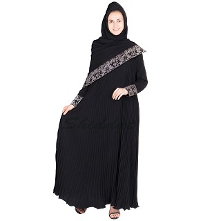 Flared Umbrella abaya with Accordian pleats