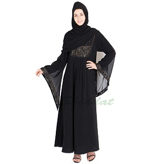 Pleated abaya with golden embroidery and bead work