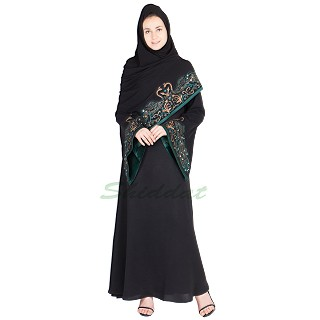 Embroidered nidha abaya-  Stone embossed