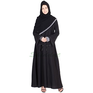 Nidha abaya- Black flared with bead work