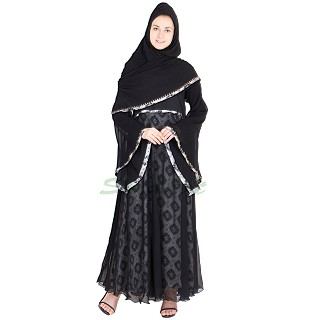 Abaya - Umbrella abaya with cut dana work