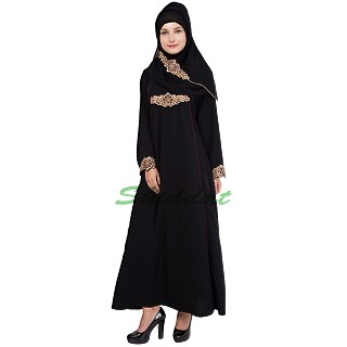 Abaya- Golden colored with embroidery work