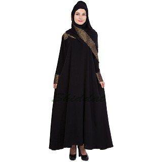 Islamic dress- Abaya with Gold jaccard print