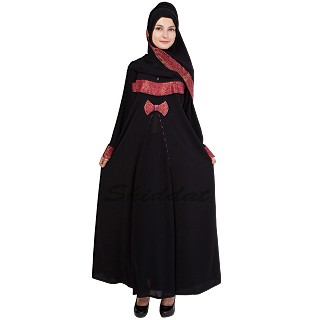 Designer abaya- Islamic dress with Red jaccard print