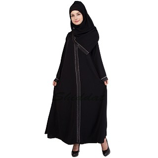 Islamic dress- Abaya with rainbow diamond lined patti