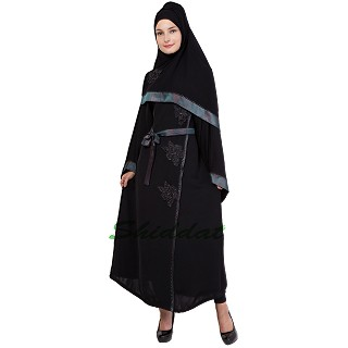 Abaya with flower applique and diamond work