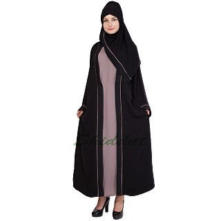 Layered abaya- Dual colored in Jacket style