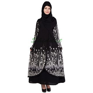 Layered abaya - Islamic dress with floral motifs