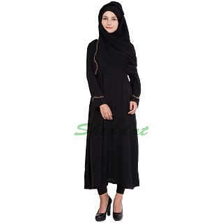 Abaya dress - Front open with Golden embroidery
