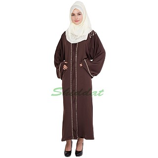 Islamic dress - Front open abaya in Coffee color