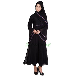 Double layered maxi dress abaya