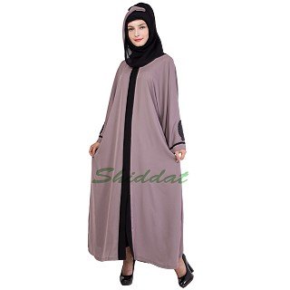 Front open Islamic dress- Mountbatten Pink