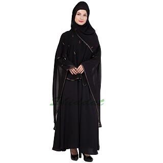 Layered abaya - Poncho dress with stone work