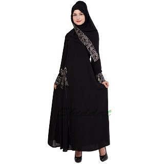 Layered abaya - Islamic dress with jaccard print patti