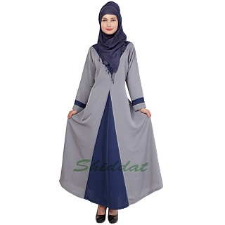 Fascinating formal Islamic dress with V neck