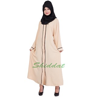 Muslim dress- cream colour front open abaya