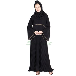 Nida burqa- chiffon sleeve with pleated gher