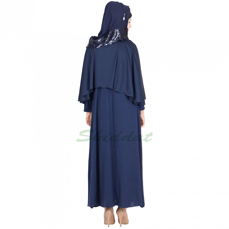 Abaya Online In India Umbrella Cut Navy Blue Cap Collar