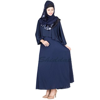 Abaya online- Navy Blue Cap Collar Attached