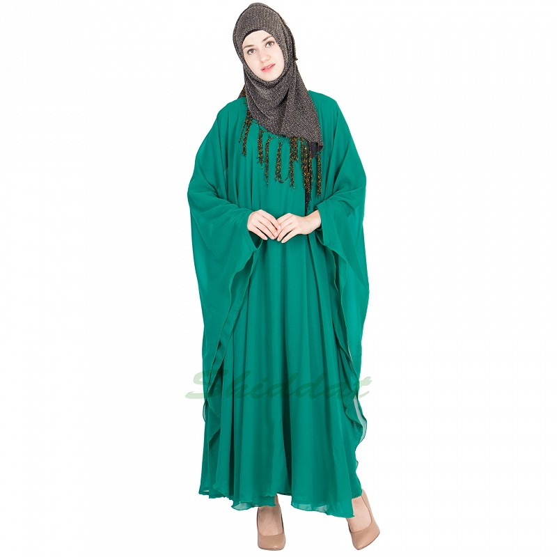 Abaya Online Teal Green Butterfly Kaftan Georgette Fabric