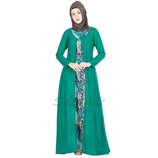 Abaya- Printed inner with Green Long Gown