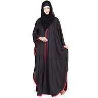 Black Kaftan abaya with red border