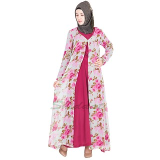 Abaya- Floral Printed Long Gown- Maxi Dresses