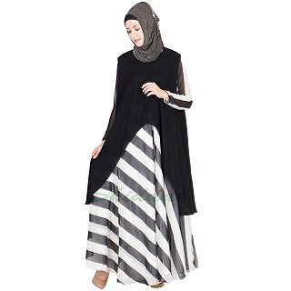 Abaya- Black and White strip long gown with black shrug