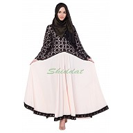 Lacy abaya in Black and Peach