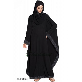 Kaftan abaya with white dotted border on sleeves- Black