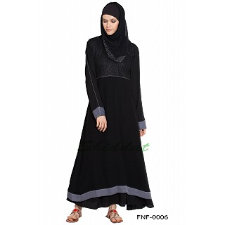 A-line double layered abaya with grey color border on sleeves and bottom- black