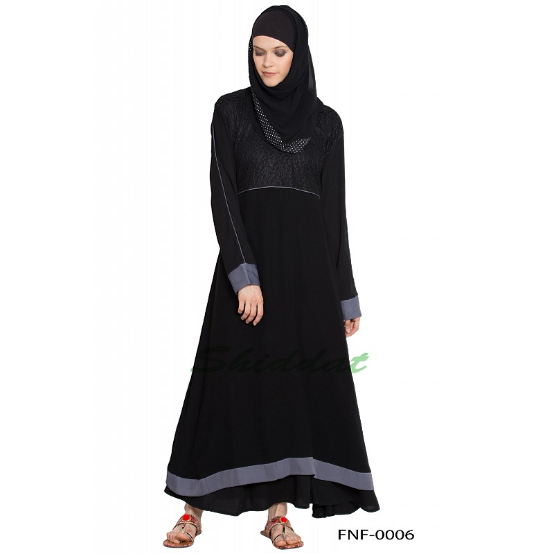 a856513183a5 Abaya online- Buy this A-line black colored abaya with grey border