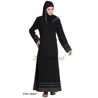Black 3-line border abaya