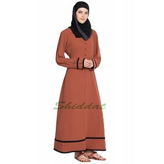 Simple abaya with 2-line border- Rust