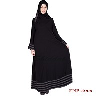 Abaya- Black colored with 5 line border