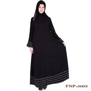 Abaya- Black colored with 5 line border