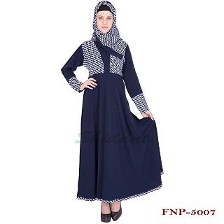Abaya- half printed on deep blue color