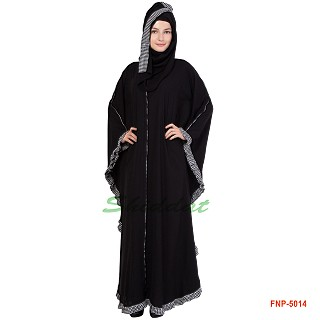Front Open Black kaftan with checkered frills