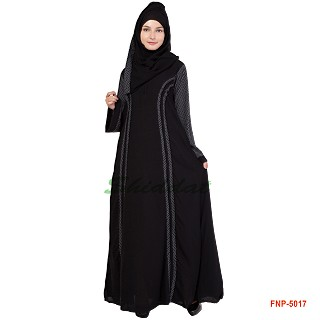 Princess cut abaya with Bobby print